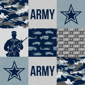 Army - Patchwork fabric - Soldier Military -  grey and dusty blue - LAD19