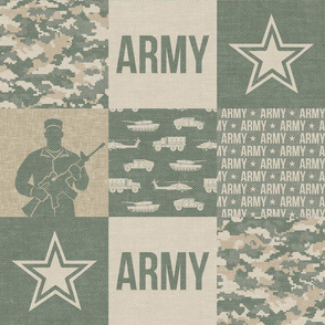 Army - Patchwork fabric - Soldier Military -  OG light  - LAD19