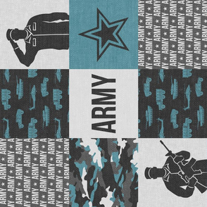 Army - Patchwork fabric - Soldier Military -  grey and blue (90) - LAD19