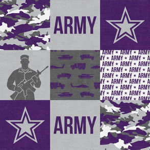Army - Patchwork fabric - Soldier Military -  purple - LAD19