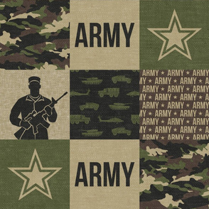 Army - Patchwork fabric - Soldier Military -  OG - LAD19