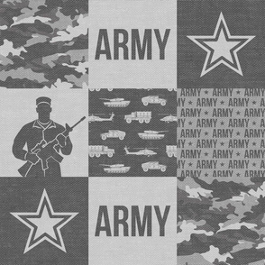 Army - Patchwork fabric - Soldier Military -  grey - LAD19