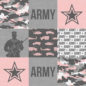 Army - Patchwork fabric - Soldier Military -  pink and grey - LAD19