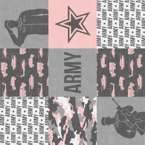 Army - Patchwork fabric - Soldier Military -  pink and grey (90) - LAD19