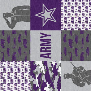 Army - Patchwork fabric - Soldier Military -  purple (90) - LAD19