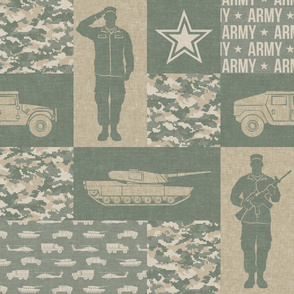 Army - Patchwork fabric - Full Soldier Military - OG light - LAD19