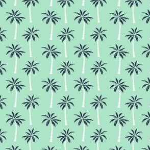 SMALL - palm tree // mint and navy palms fabric andrea lauren design palm prints tropical andrea lauren
