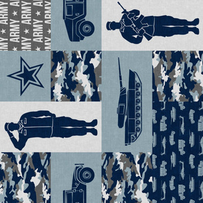 Army - Patchwork fabric - Full Soldier Military - navy and grey (90) - LAD19