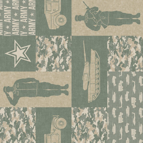 Army - Patchwork fabric - Full Soldier Military - OG light (90) - LAD19