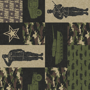 Army - Patchwork fabric - Full Soldier Military - OG (90) - LAD19