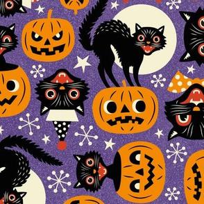 spooky vintage cats and pumpkins - purple