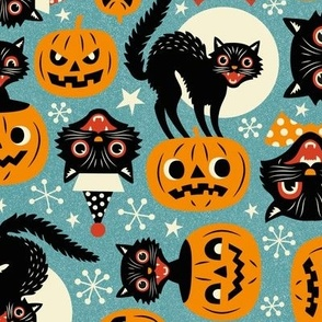 spooky vintage cats and pumpkins - light blue