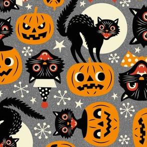 spooky vintage cats and pumpkins - grey