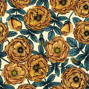 Golden-Yellow Roses - Vintage-Inspired Floral/Botanical Pattern