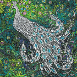 Green Blue Silver Peacock-Feather Challenge-Kim Marshall