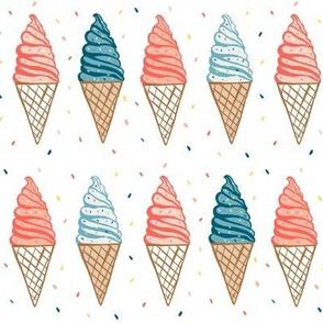 Soft serve ice cream cones on white