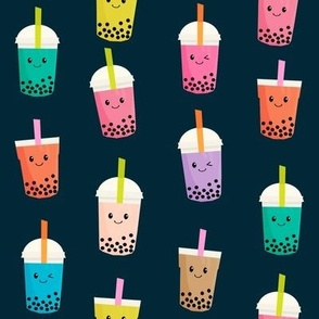 Boba Tea fabric - boba fabric, kawaii fabric, cute fabric, food fabric, bubble tea fabric, bubble tea, kawaii food - navy