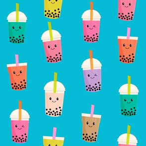 Boba Tea fabric - boba fabric, kawaii fabric, cute fabric, food fabric, bubble tea fabric, bubble tea, kawaii food - blue