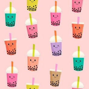 Boba Tea fabric - boba fabric, kawaii fabric, cute fabric, food fabric, bubble tea fabric, bubble tea, kawaii food - light pink