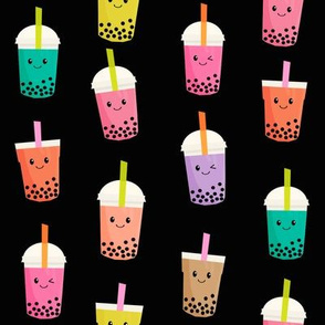 Boba Tea fabric - boba fabric, kawaii fabric, cute fabric, food fabric, bubble tea fabric, bubble tea, kawaii food - black
