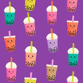 Boba Tea fabric - boba fabric, kawaii fabric, cute fabric, food fabric, bubble tea fabric, bubble tea, kawaii food - bright purple