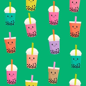 Boba Tea fabric - boba fabric, kawaii fabric, cute fabric, food fabric, bubble tea fabric, bubble tea, kawaii food - bright green