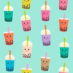 Boba Tea fabric - boba fabric, kawaii fabric, cute fabric, food fabric, bubble tea fabric, bubble tea, kawaii food - light greenish