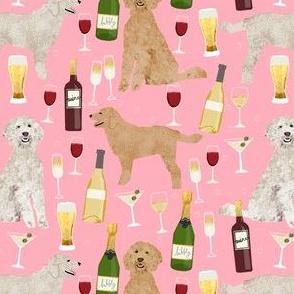 golden doodle wine fabric - cream doodle, apricot doodle, doodle dog, dog fabric, cute doodle dogs