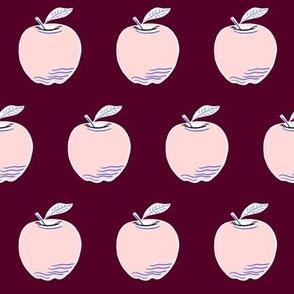 Blush apples on maroon