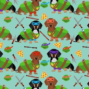Dachshund ninja dog fabric - dachshund, dachshund fabric, dog fabric, ninja fabric, dog costume, dog costumes fabric - green blue
