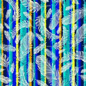 Feathers and Aqua Stripes