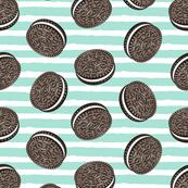 Chocolate Cookies - aqua stripes - LAD19