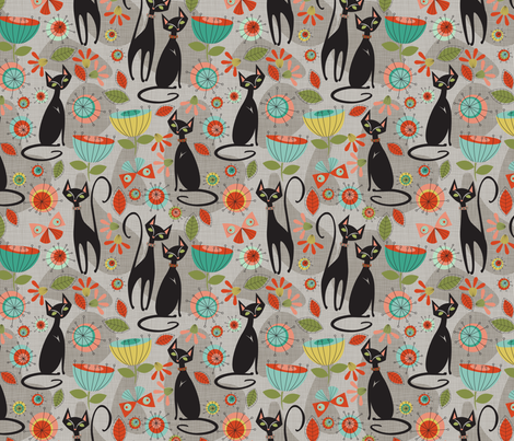 mid centry cats reduced fabric by cjldesigns on Spoonflower - custom fabric