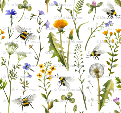 bees and wildflowers - white, large