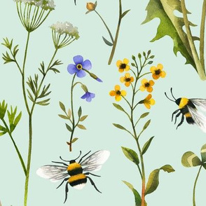bees and wildflowers - mint, large
