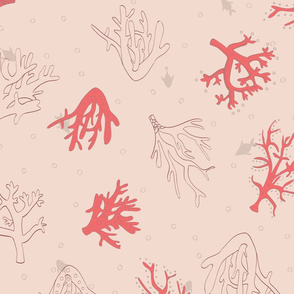 Underwater Life in Coral and Brown seamless pattern design.