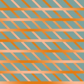 BYF10 - Diagonal Open Weave Window Pane Plaid in  Dried Apricot Orange Gradient on Stone Blue Pastel