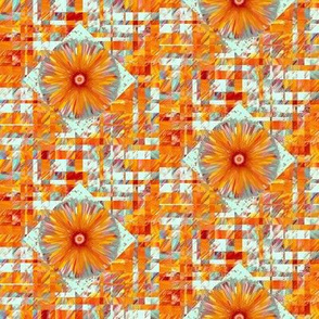 BYF10- Bulls Eye Floral Scattered Plaid in Dried Apricot Orange and Rustic Teal with Mauve Accents