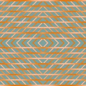 BYF10 - Medium -  Diagonal Open Weave Plaid Diamonds on Point  in Dried Apricot Orange Gradient on Stone Blue Pastel