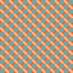 BYF10 - Medium - Dried Apricot Gradient and Pastel Stone Blue  Checkerboard