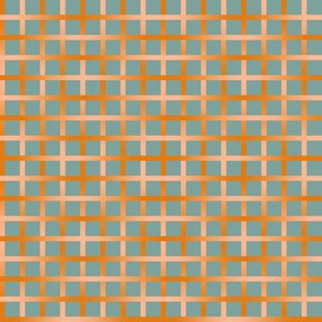 BYF10 - Open Weave Window Pane Plaid in Dried Apricot Orange Gradient Plaid on Stone Blue Pastel