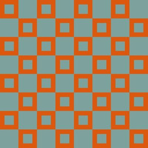 BYF10 - Donut Hole Checks in Dried Apricot Orange  and Stone Blue