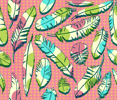 Aunt's Feathers Pink fabric by chicca_besso on Spoonflower - custom fabric