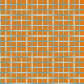 BYF10 -  Medium - Open Weave Window Pane Plaid in Stone Blue Gradient on Dried Apricot