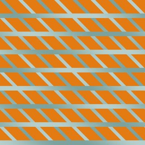 BYF10  Open Weave Diagonal Plaid in Stone Blue Gradient  on Dried Apricot Orange