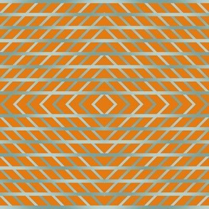 BYF10  - Open Weave Window Pane Plaid Diamonds on Point in Ston eBlue  Gradient on Dried Apricot Orange