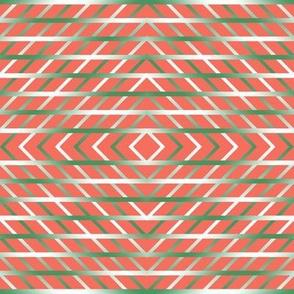 BYF1 - Medium - Open Weave Window Pane Plaid Diamonds on Point Lattice Work in  Green Gradient on Coral