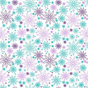 Blomster petrol og lilla