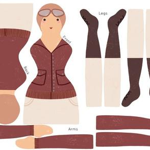 Amelia Earhart Doll Cut + Sew
