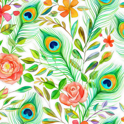 Peacock Feather Posies on white - small print fabric by micklyn on Spoonflower - custom fabric